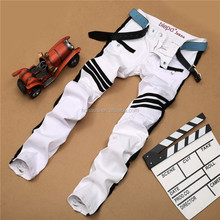 New style White biker jeans slim fit jeans pencil legging pleated pants for men