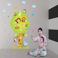 Cartoon Animal Tree Wall Stickers Art Decals Home Decor Window Glass Wallpaper Nursery Mural Finish Free Shipping AM9040