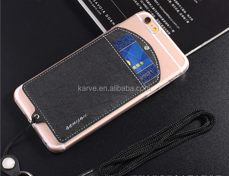 TPU leather handbag card pocket phone case sling straps tpu back cover for 4.7/5.5 inches