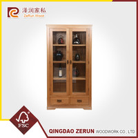 Solid oak furniture natural color wooden wine display cabinet