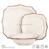 factory direct price good quality stoneware dinner set with embossed craft