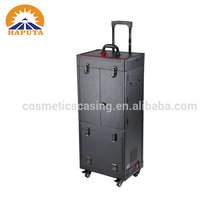 fashion PVC trolley portable makeup station with lighted mirror and drawers