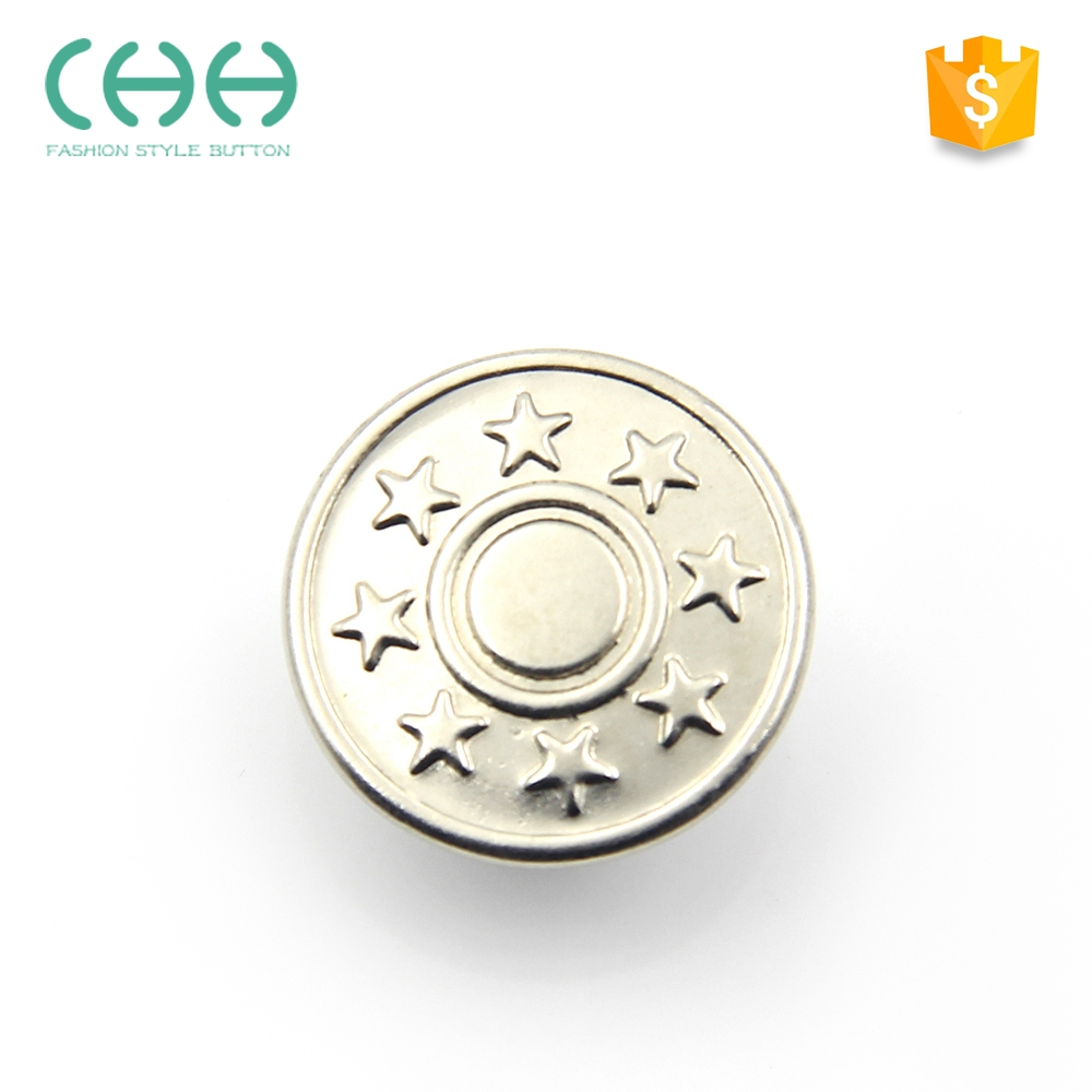 New design garment accessories JG77 eco-friendly silver jeans button