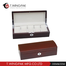 Custom factory price luxury classic design square solid wood watch box wooden watch display box with velvet linling