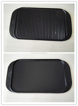 BBQ grill cast iron reversible griddle pan plate with two grilling surface