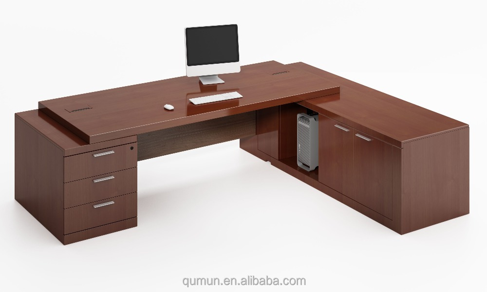 High Tech Executive Office Desk With Side Table Office
