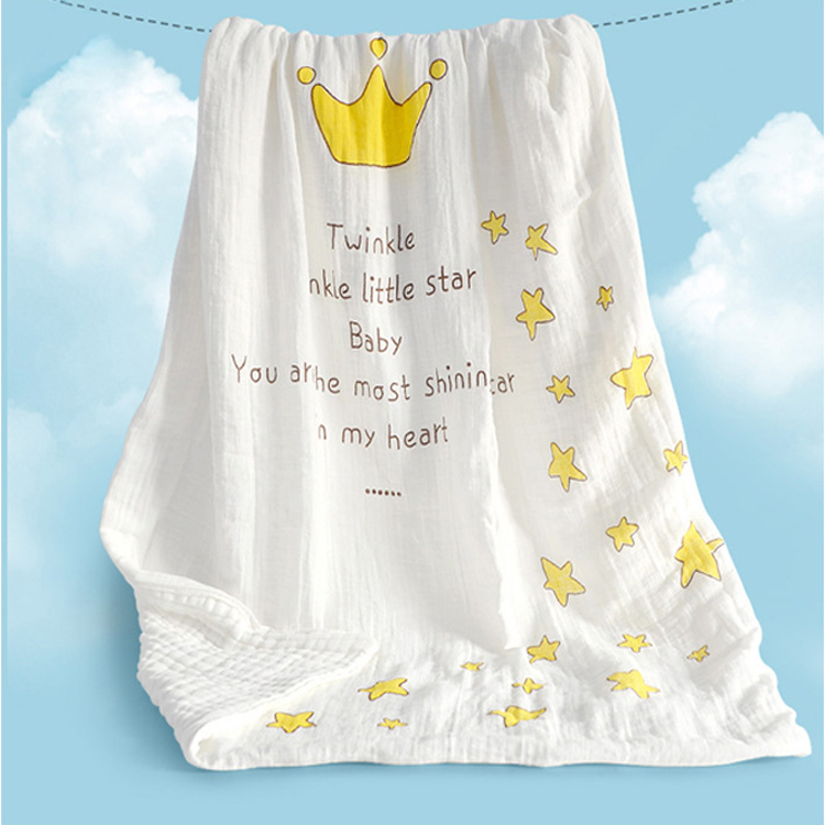 Yellow Crown Pattern Customized Design Muslin Cotton Knitted Baby swaddle