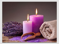 wall decor candle photo on canvas painting with led light