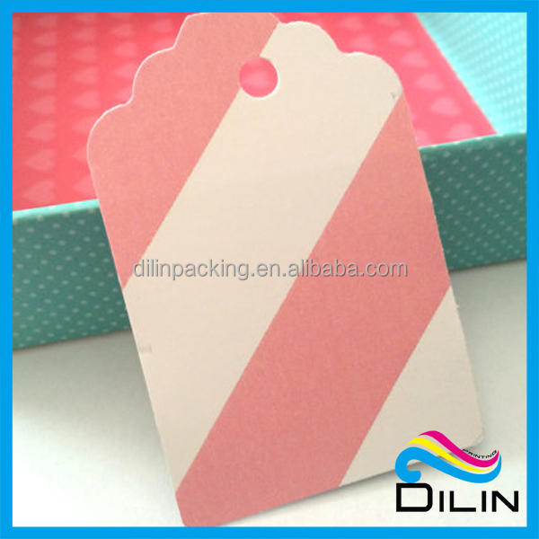 custom striped light pink tag for clothing or gift
