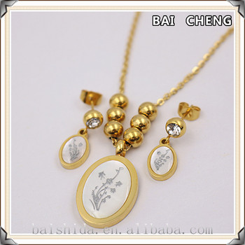 2016 Design Graceful Shell Gold Plated Stainless Steel Jewelry Sets Oval Shell Necklace and Earrings