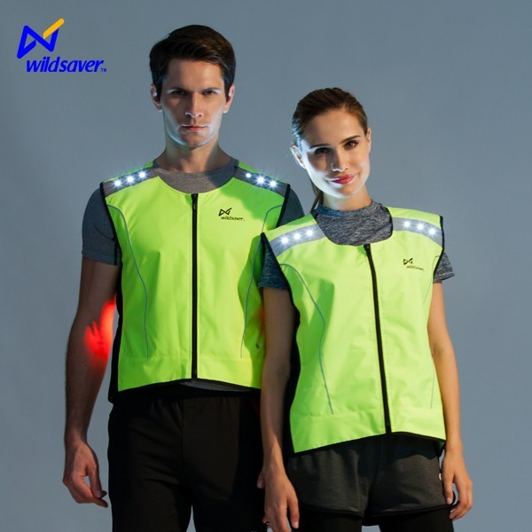 Outdoor hi vis LED reflective men bicycle clothing