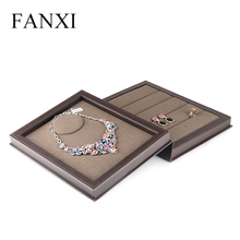 FANXI Wholesale Embossed Logo Coffee Leather Ring Earring Necklace Jewelry Boxes Book Shape Luxury Gift Box