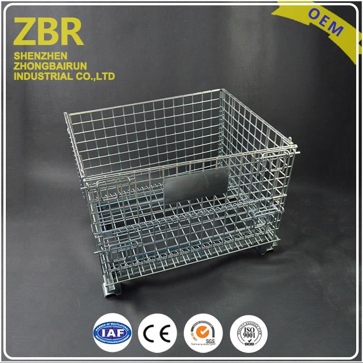 Collapsible Stackable Metal Warehouse Rolling Wire Mesh Container Cage Backet for Sale