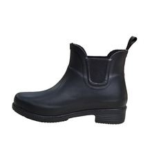 top quality elastic rain shoes with back strap,black ladies ankle boots with high heel