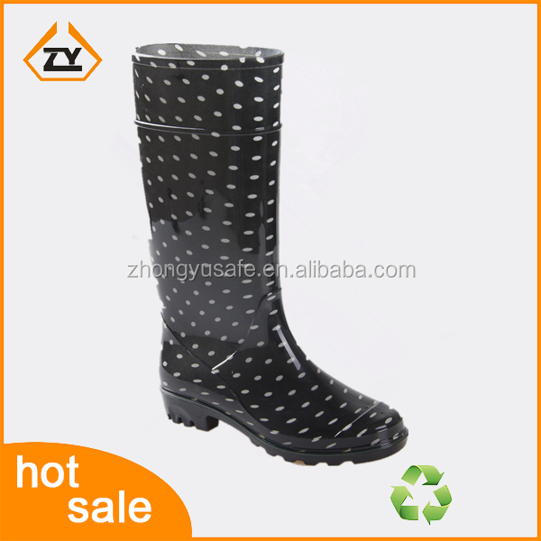 comfort women heel and black base white dot rain boots and lightweight safety shoe for women