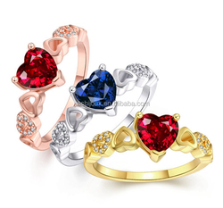 girls best gift heart shaped design gold plated ring