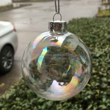 transparent hollow decorative glass balls with iridescence color for gardens