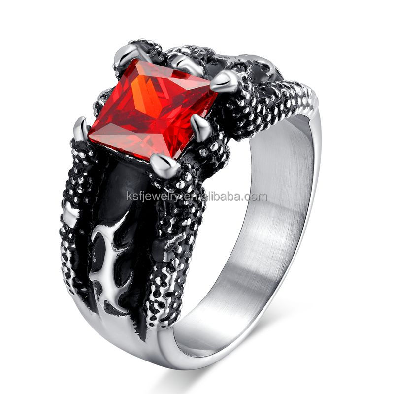 wholesale 2016 fashion hot selling biker wedding rings with red zircon prong settting alibabacom - Biker Wedding Rings