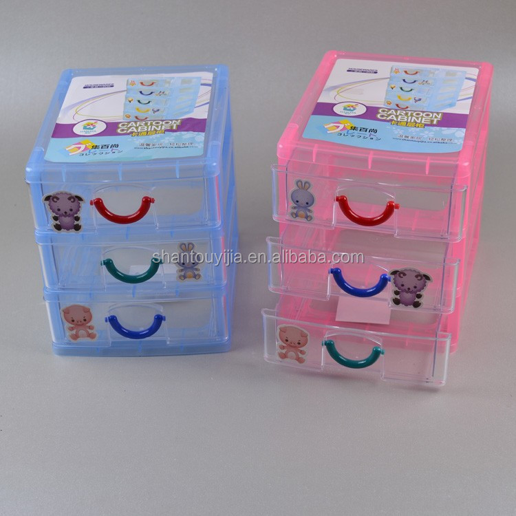 3-tier 17 cm 3 Layers cartoon plastic mini storage drawer