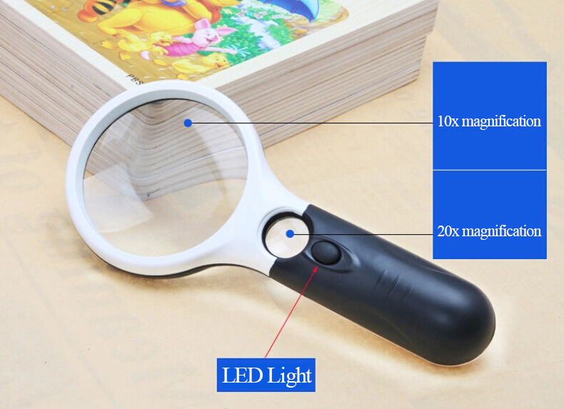 2016 new Jewelry Loupe LED Light 10X 20x Handheld Magnifier Reading Magnifying Glass