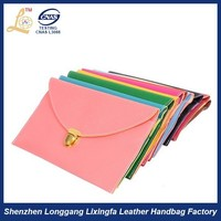 OEM custom fashion PU leather kiss lock flat clutch woman wallets