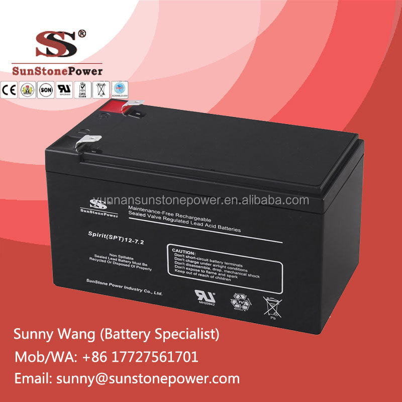12 V 7.2AH deep cycle mf AGM type UPS Battery for emergency lighting