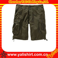 Custom latest style high quality comfort mix size cheap cotton plain loose mens 3/4 cargo shorts