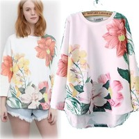 Women Fashion Top 2015 Female Latest Pullovers Long Sleeve Flower Printing Casual Sweatershirt Hoodies SHD-150415
