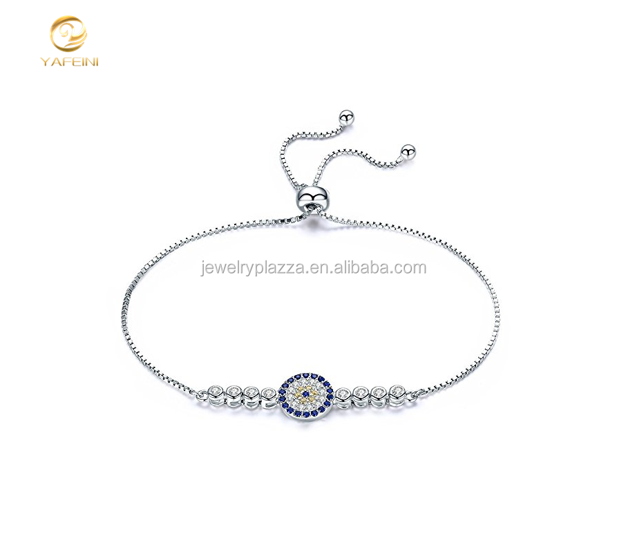 China Wholesale 925 Sterling Silver Cubic Zirconia Tri-Tone Evil Eye Tennis Bracelet