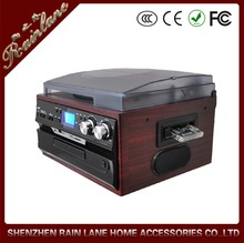 Rain Lane New Wooden 3 Speed Antique Record Player Turntable with LCD Display
