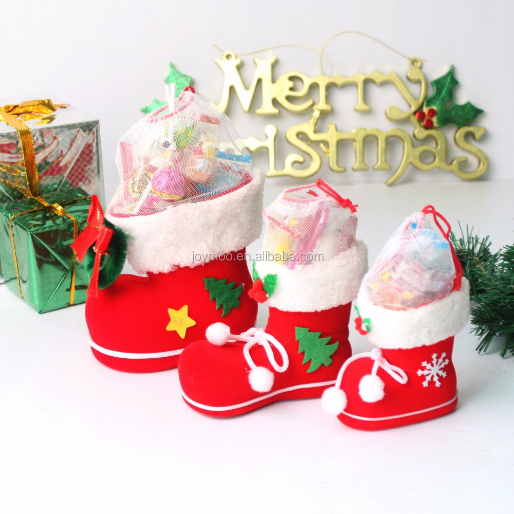 High Quality Christmas Candy Boot,Surface Plastic Red Flocking Santa Boots Xmas Decoration