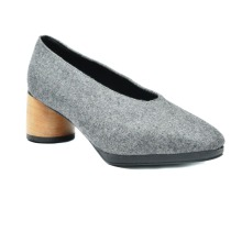 H1616 2017 fashion gray woolen slip-on casual pumps shoes for women with durable mid heel from chengdu