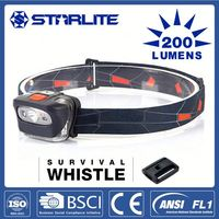STARLITE Hot sale survival whistle 200LM camping and hiking headlamp led