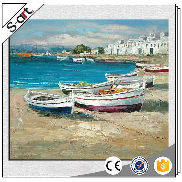 Direct factory price customized design seaside boat modern canvas art landscape oil painting