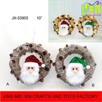 Unique 10'' Christmas burlap metal ring with led light santa head cone for wall decoration