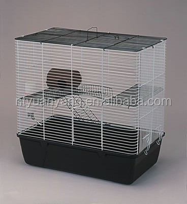 Double deck foldable wire steel rabbit cage with plastic tray