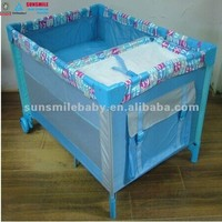 3 in 1 baby playpen/ play yard,easy folding outdoor travel cot,convenient and lockable infant daycare bed