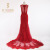 Newest Fashion Lace Appliqued Beaded Red Tulle Evening Dresses 2016 V Neckline Sheer Back Mermaid Prom Dresses