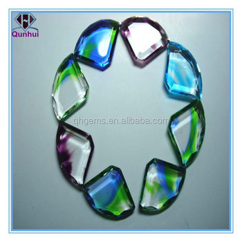 colorful glass parachute shaped cz gemstone