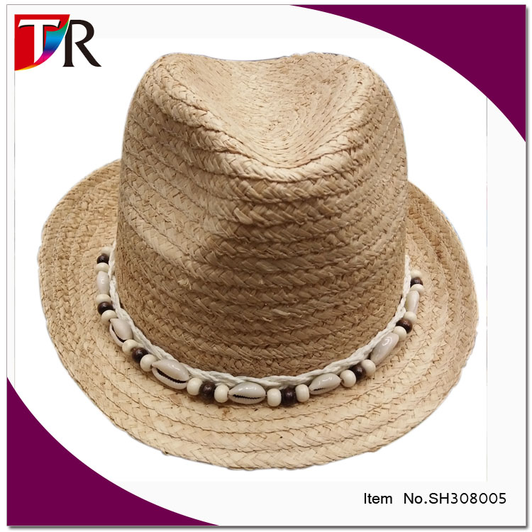 vintage style lady raffia straw fedora hats wholesale /straw hat with shell braid