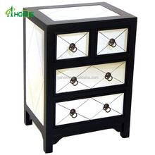Handmade Black Diamond Mirror Chest with 2 wide drawers
