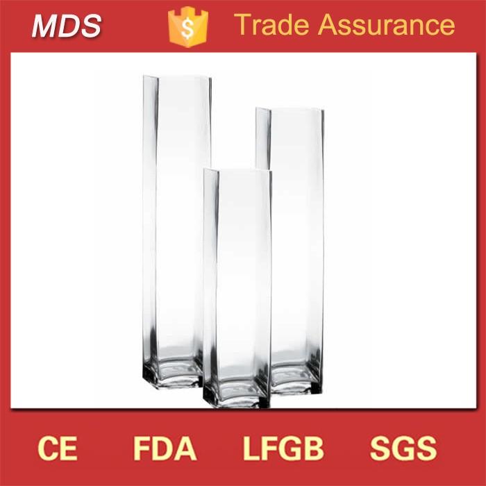 altos jarrones de cristal claro cuadrado barato pulgadas de alta calidad