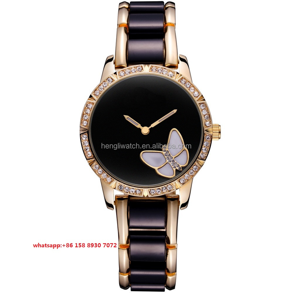 Luxury pretty Quartz women's watches with ceramic strap FS509
