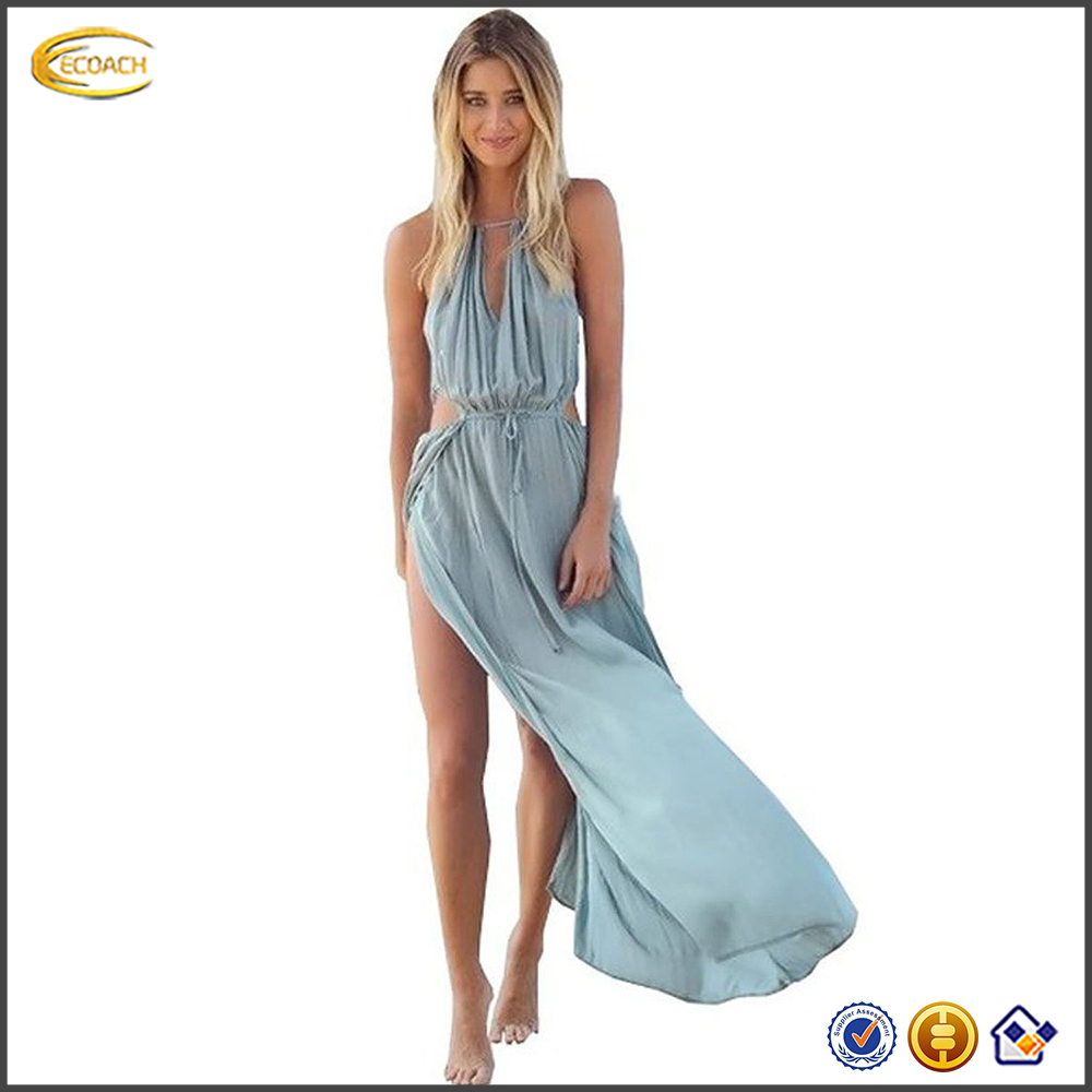 Ecoach Wholesale OEM hot summer ladies Lower Chest Strap Fastening western Style maxi sundress Long Dress for beach party