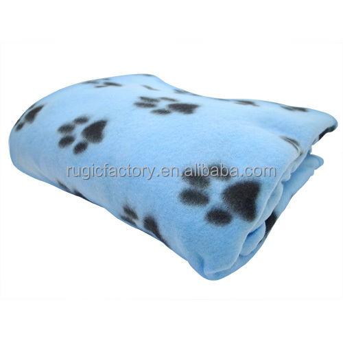 100% Polar Fleece Pet Blanket With Dog Paw Printed
