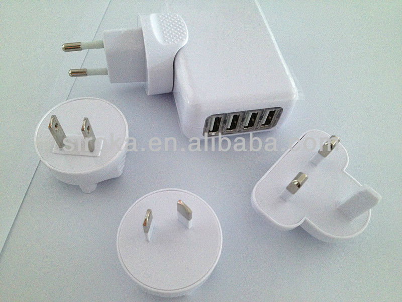 2A 4-Port USB travel charger AC Wall Charger for Apple iPhone 5 5G
