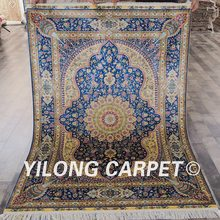Qum rugs 100% silk Yilong 4'x6' turkish design luxury blue hand made rug silk rugs