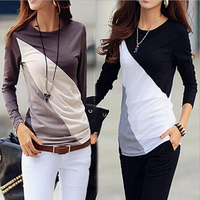 2016 Oem service Long Sleeve Contrast Color Spliced Round Neck Tee Tops Blouse women baseball t shirt