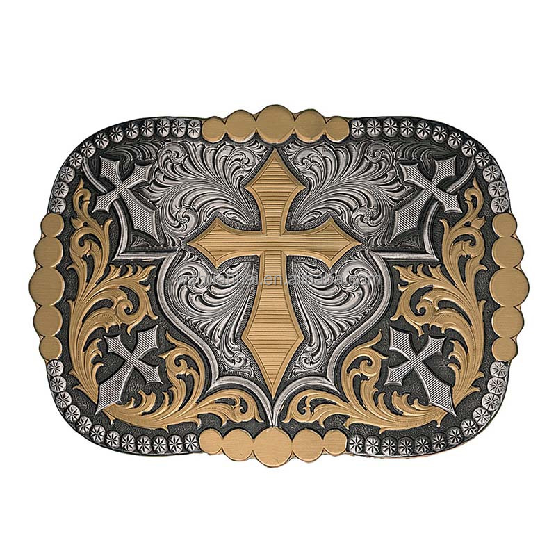 double color plating antique brass custom fancy belt buckle makers