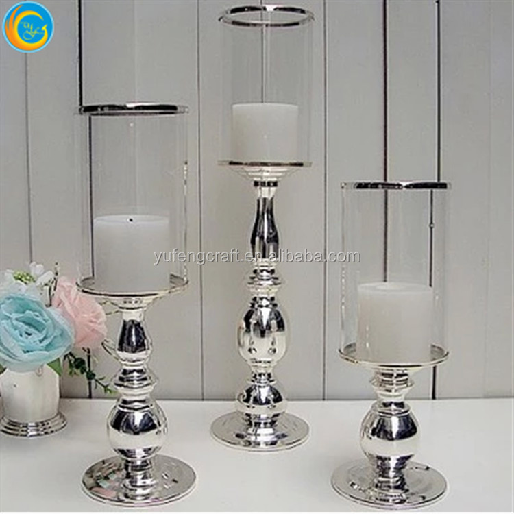 tall glass candle holder for wedding centerpieces hotel decoration
